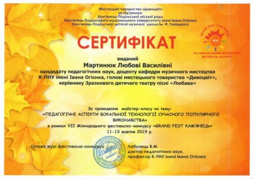сертифікат за проведення майстер-класу Мартинюк