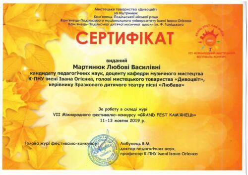 Сертифікат за роботу у складі журі